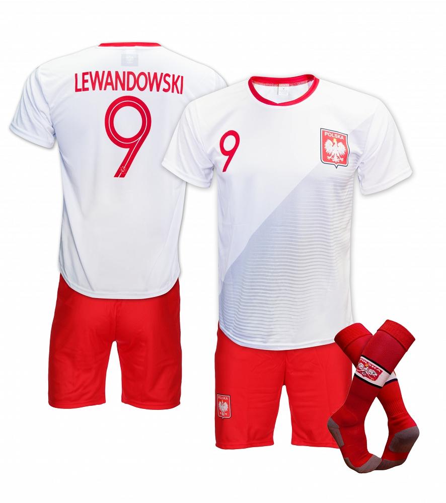 6bb3003d2 KOMPLET STRÓJ PIŁKARSKI + GETRY LEWANDOWSKI POLSKA 2019 - cena ...